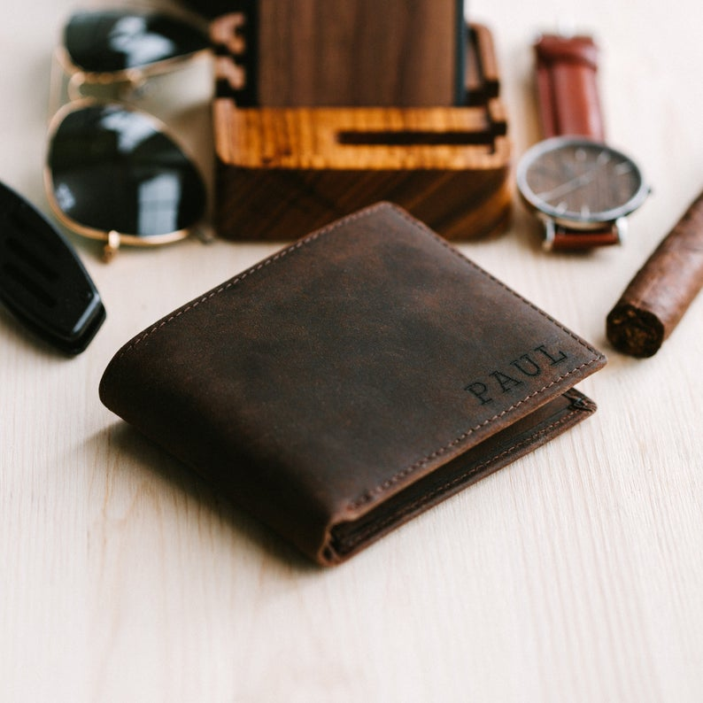 A personalized leather wallet is a useful and thoughtful Father's Day gift.  WildflowersAndWanderlust.com
