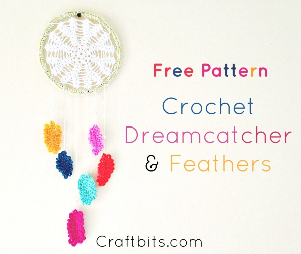 Here's a great crochet dreamcatcher pattern that also includes the pattern for feathers.  Find it on Craftbits.com