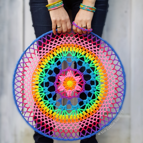 Crochet a beautiful mandala by following the pattern at Little Bee