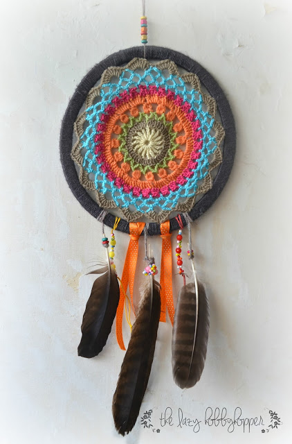 The Lazy Hobby Hopper has a great crochet dreamcatcher pattern to make this darker boho mandala.